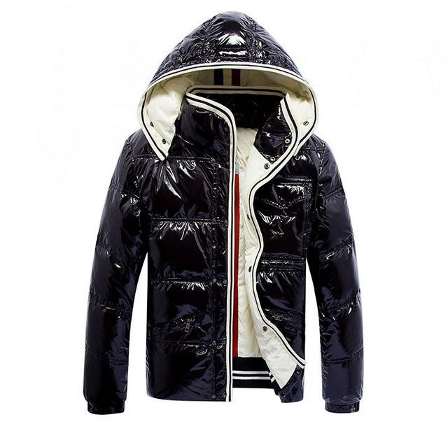 French brand winter slim down jacket for men with thick warm bright face fashionable outdoor hooded down jacket