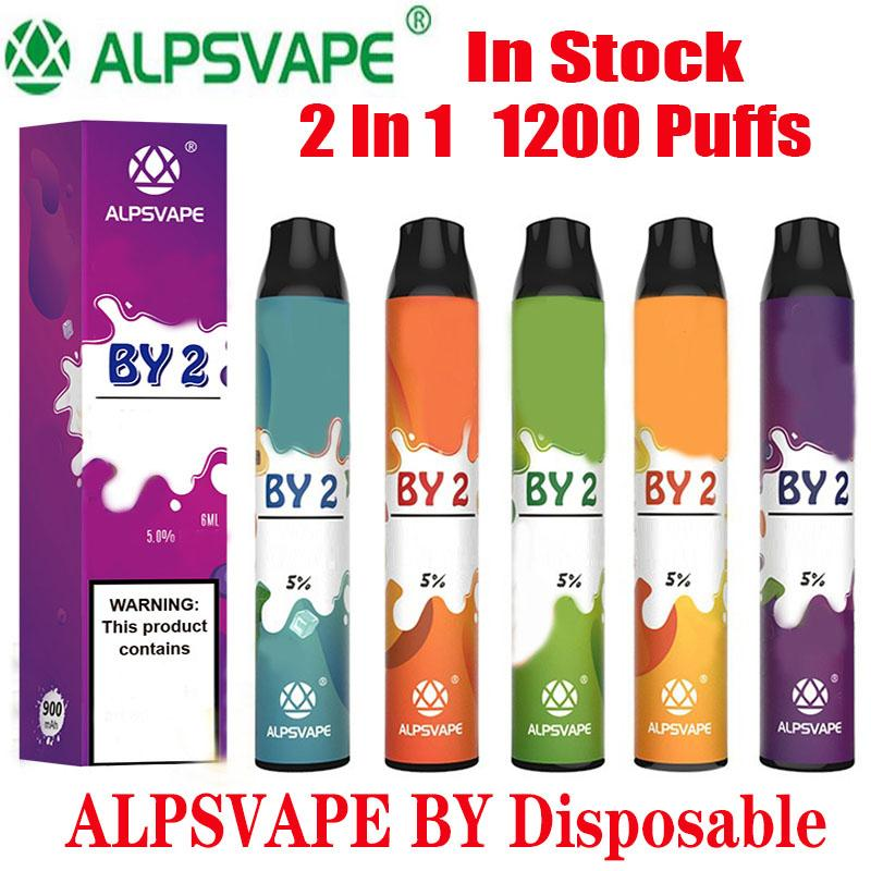 Kit de dispositivos desechables Alpsvape BY2 original 6 ml vainas 2 en 1 Puff 1200 900mAh Batería POR 2 Vape palillo de Ezzy Súper Kangvape Onee 100% auténtico