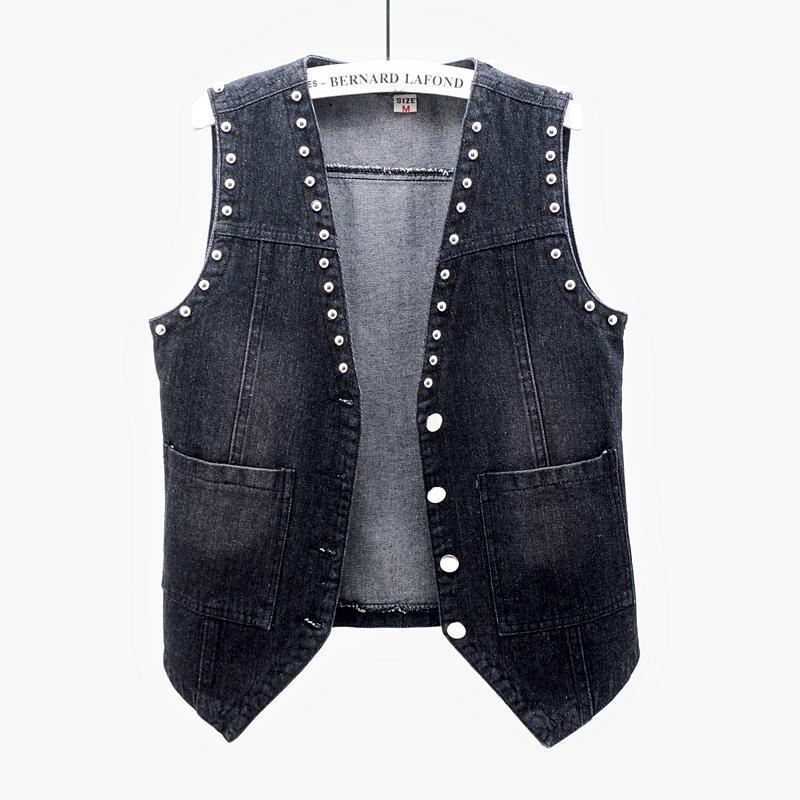 Vintage Black Blue Rivet Denim Weste Frauen Sommer Lässige Tasche Jeans Westen Weibliche Weste V-Ausschnitt Kurze ärmellose Jacke Mantel