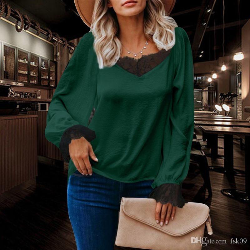 2020 Женские с длинным рукавом Топ с V шеи и кружева Элегантная и модная блузка в цветах с эластичными Подоле