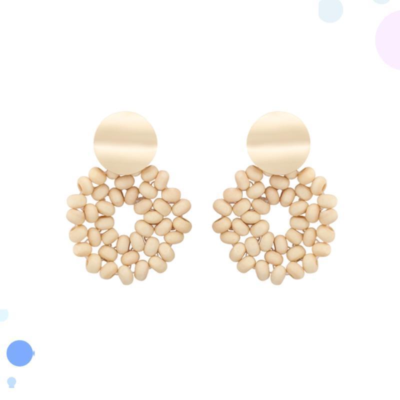 1 pareja con estilo estilo bohemio pendiente perlas de madera aretes decoración de joyas para niñas mujeres mujeres (beige)