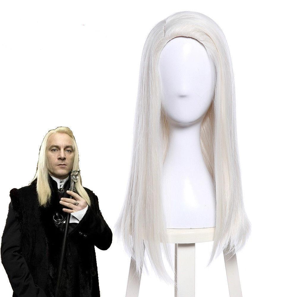 HP Lucius Malfoy Cosplay Wig Light Blonde Long Straight Hair Halloween Mens Wigs