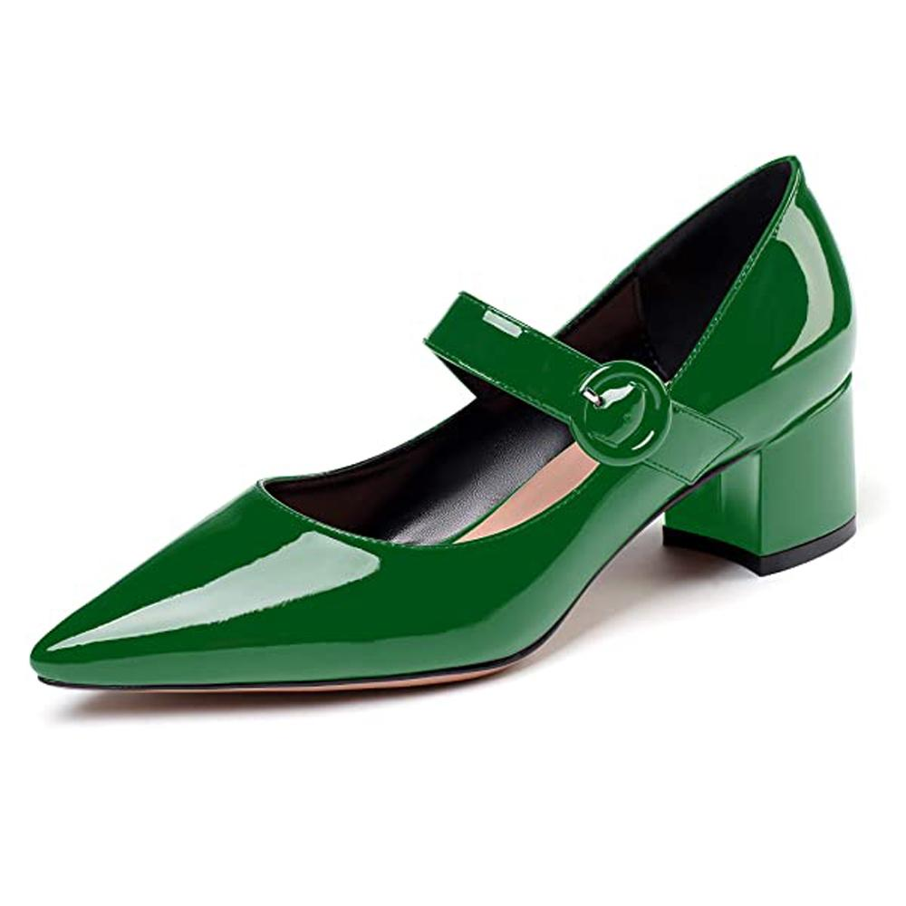 2021 A nova fêmea baixa dois centímetros para Mary Jane Chunky Heels Clássicos Sapatos de Casamento Kvzy