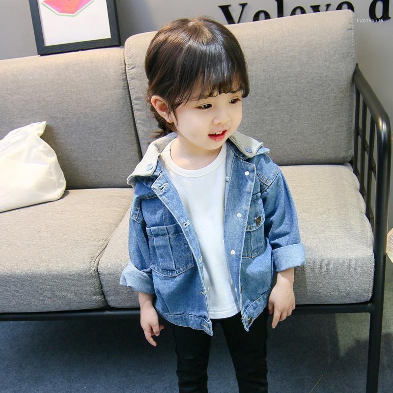Ropa para niños Chicas con capucha Chaquetas Denim Chaquetas Operiores Ropa exterior Ropa de remiendo para niños Moda de moda Abrigo Baby Girl Outfits1