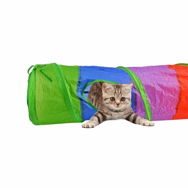 Nuove 2/4/5 fori del gatto dell'animale domestico Giocattoli Tunnel Gioca tubetti piega Kitten Interactive Giocattoli cucciolo furetti cane giocare Tunnel