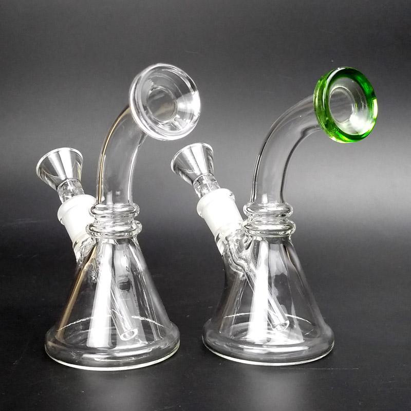 Mini Bong de cristal con 14 mm Downstem 5 pulgadas pequeño Bongs de hierba seca Dab Rig agua Bongs Pipas