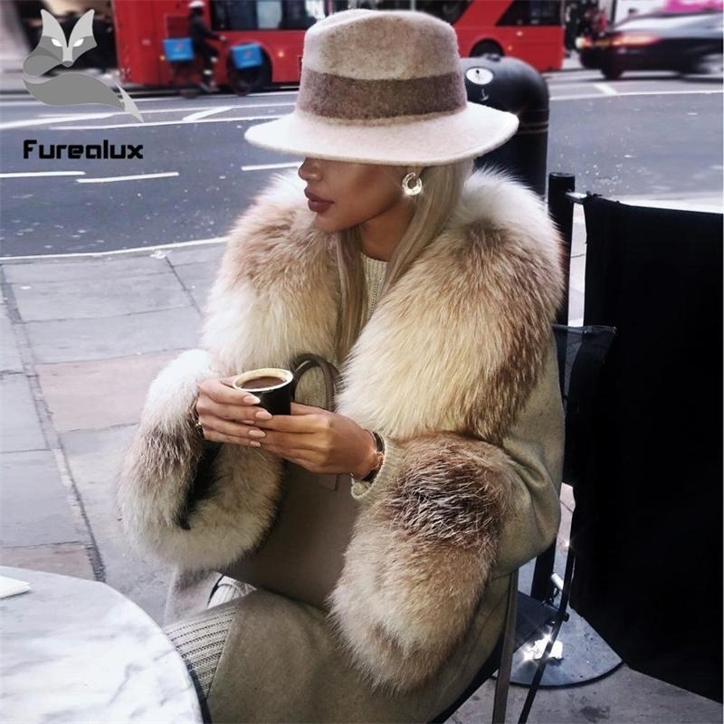 Kadın Yün Ceket Rahat Yün Dış Giyim Kürk Yaka Uzun Kollu Gerçek Fox Kürk Hırka Ceket Abrigos Mujer Invierno 201103