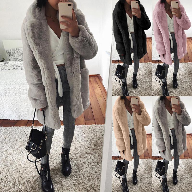 الشتاء التلبيب الرقبة معطف الفرو طويل المرأة الصلبة اللون الأزياء عارضة الدافئة cardgian قميص المرأة الملابس