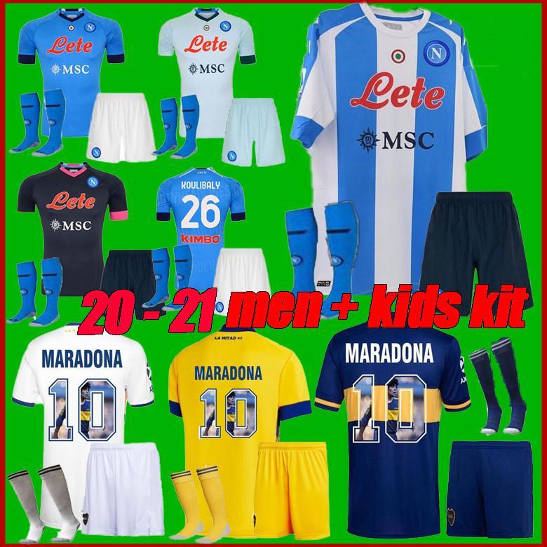 Yetişkinler + Çocuklar 20 21 Napoli Maradona Futbol Forması 2020 Napoli Zielinski Insigne Mertens 20 21 Boca Juniors Carlitos Tevez Kiti Futbol Gömlek