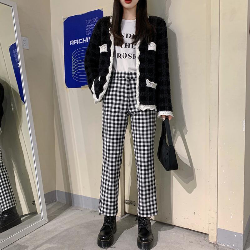 Корейская мода женская осенью высокая талия плед цвет блок длинные брюки S M