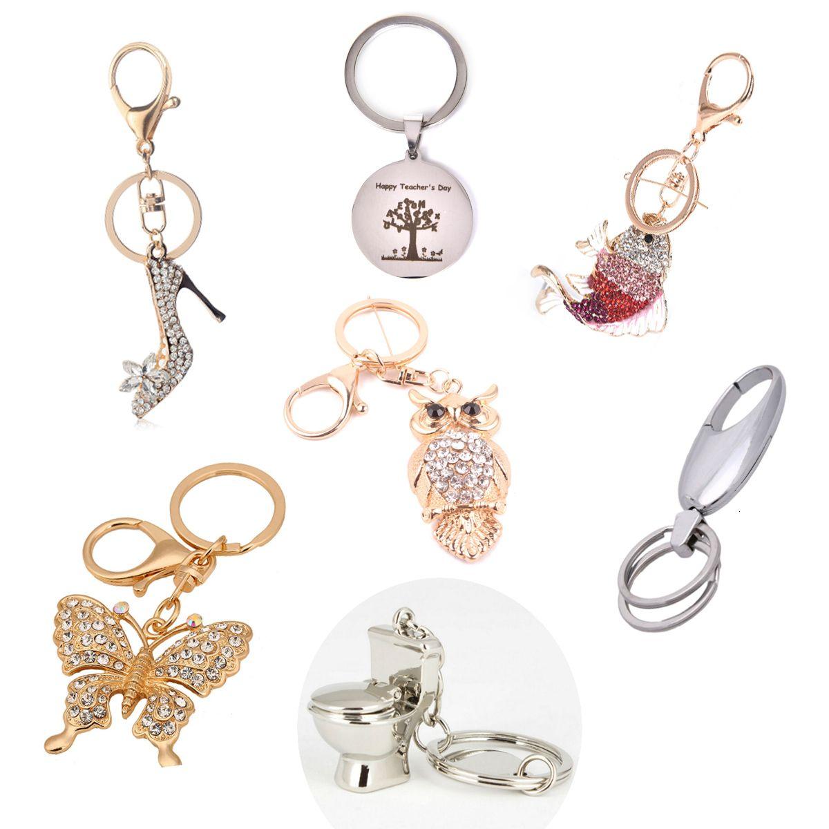 Araba Keyrings Keychains için Moda Rhinestone Kelebek Anahtarlıklar Halkalar Tutucu Kristal Kadınlar Takı Çantası kolye