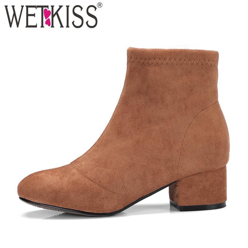 Сапоги WiTkiss 2021 Осенние Журналы Женщины Round Toe Молния Мода Стая Обувь Женская Квадратные каблуки Короткие плюшевые Обувь