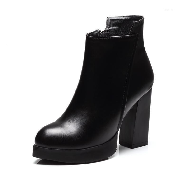 Botas gruesas tacones altos mujeres puntiagudo punteado calzado genuino partido cuero hembra tobillo otoño invierno zip negro zapatos G00121