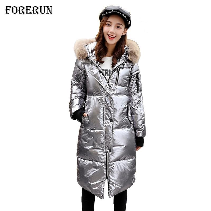 Kışlık Mont Kadınlar Metalik Renk Uzun Ceket Pamuk Yastıklı Sıcak Parlak Kürk Yaka Kapşonlu Kadın Parka Mujer Invierno T200905