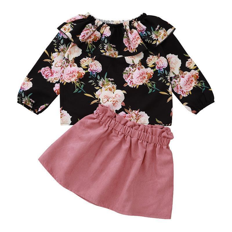 Ensembles de vêtements 1-5Y Enfants Girls Vêtements Vêtements Suit Rose Print Tops à manches longues Chemise + Jupe courte bébé enfants 2pcs Ensemble