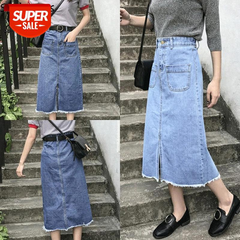 Gonne Donne Solid A-Line Pockets Impero vita alta vita estate gonna casual da donna stile coreano elegante quotidiano midi signore alla moda # ui4t