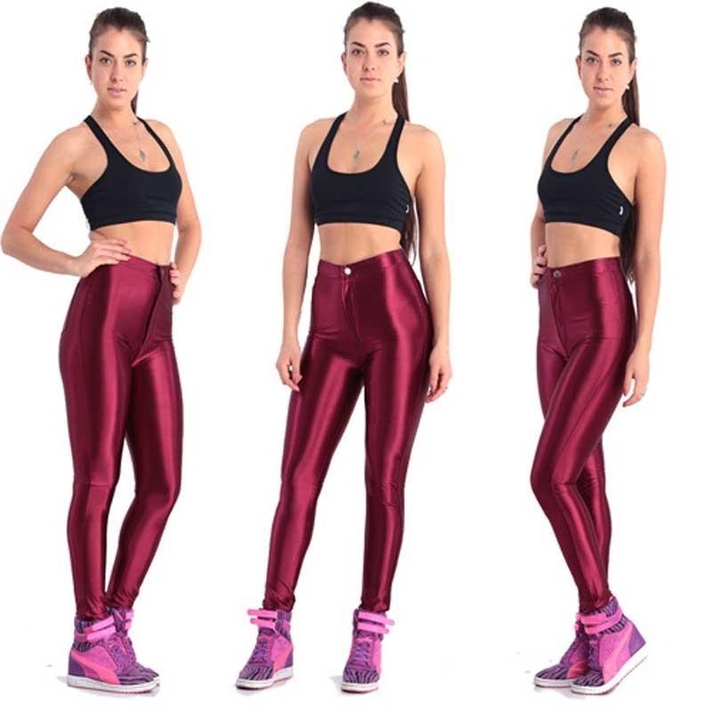 Nuovi leggings fluorescenti solidi Donne Casual Plus Size Multicolor lucido lucido Legging Legging femminile Elastico Pantalone sportivo Abbigliamento sportivo Y200328
