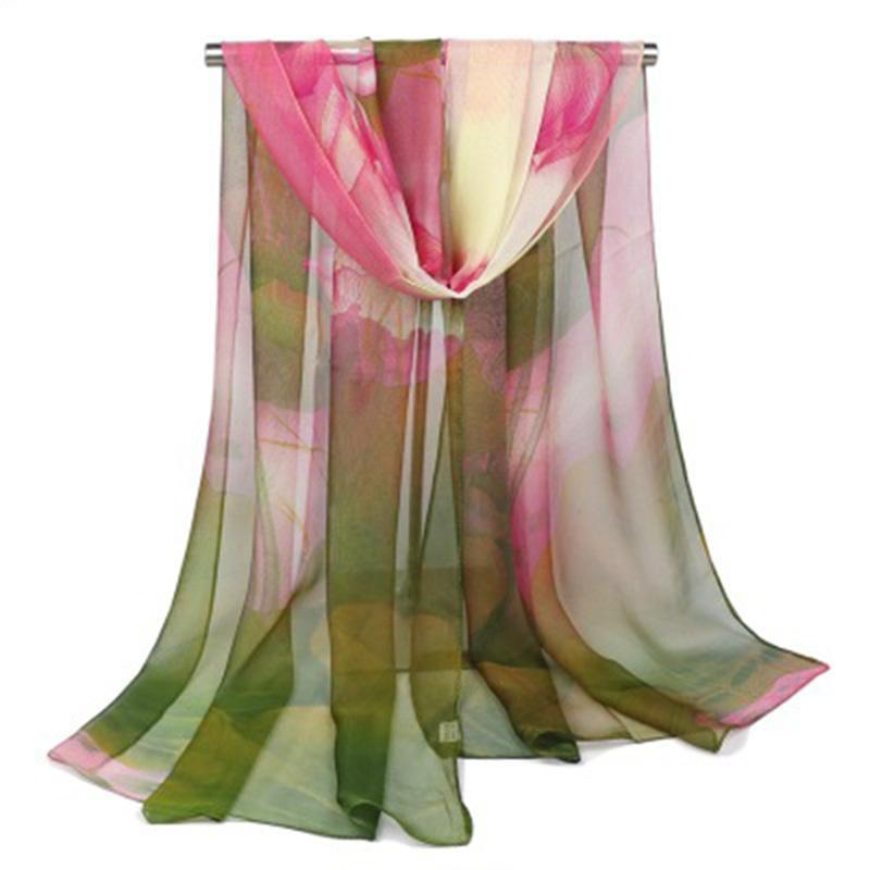 스카프 패션 여성 연꽃 잎 실크 스카프 여름 꽃 인쇄 롱 비치 스톨 시폰 그늘 두건 목도리 무슬림 hijab n53