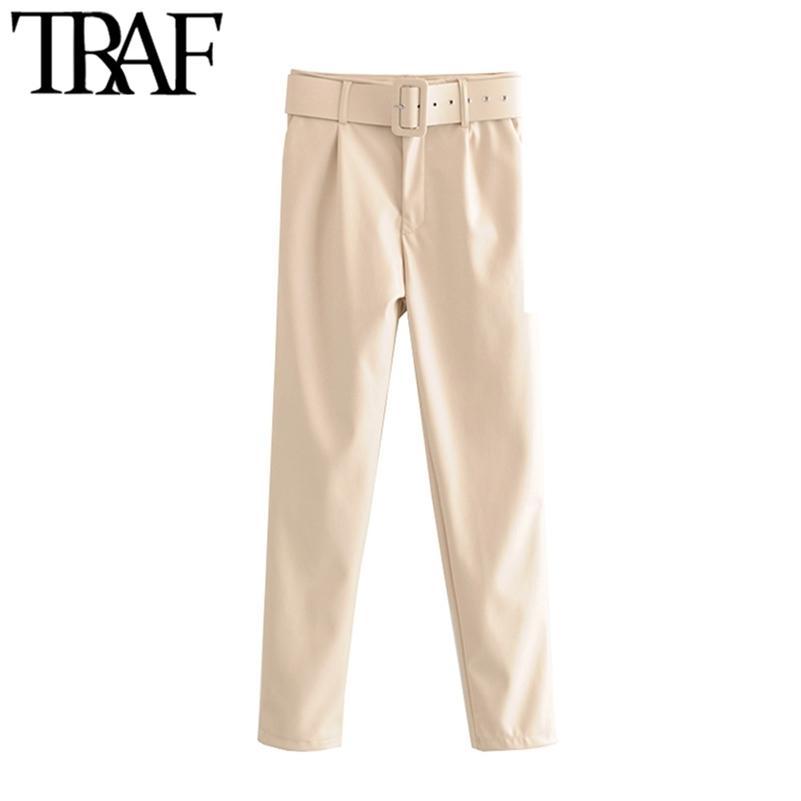 Traf frauen vintage stilvolle büro tragen pu faux leder mit gürtelhosen mode hohe taille reißverschluss fliege weibliche hosen pantalones lj201029