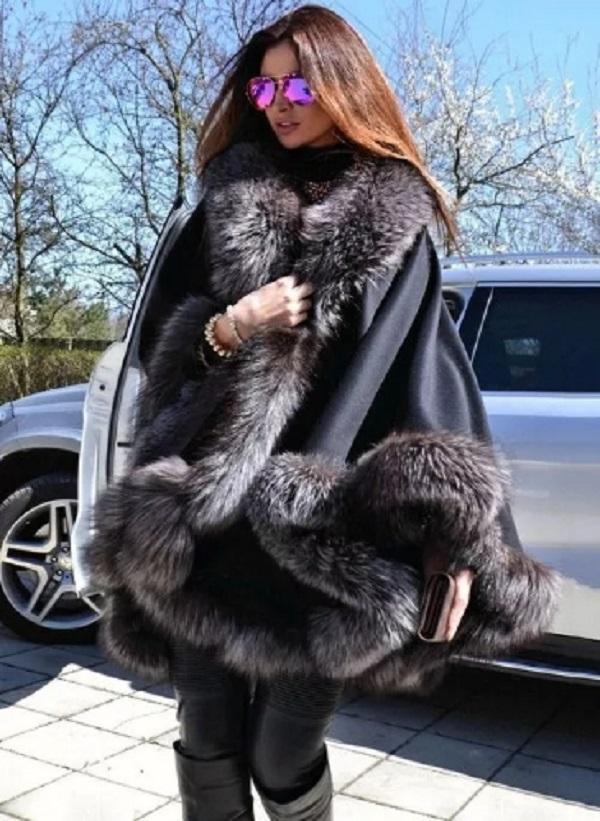 Nuovo mantello lungo inverno e cappotto di pelliccia di capo che signora joker scialle con cappotto a doppio mantello