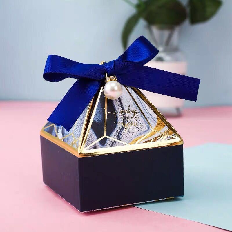 Marry Candy Box Pagoda a forma di seta a forma di seta diamanti ritorno regalo wrap nuovo modello piccolo grande imballaggio scatole rosa di alta qualità 0 38xp m2