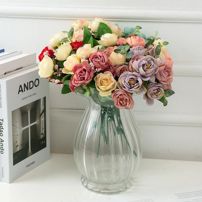 Flor artificial al por mayor de la boda de la boda serie artificial flor de seda tela de seda simulación rosa amor rosa