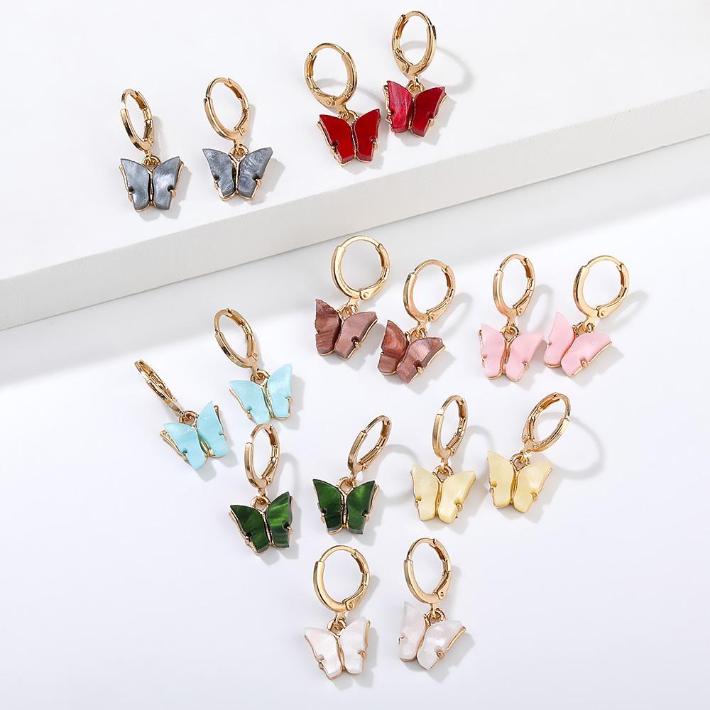 2020 Neue Bunte Acryl Schmetterling baumeln Ohrringe für Frauen Essigsäure-Säure Überzogene Aussage-Reifen-Ohrclip-Ohrringe Modeschmuck Geschenk