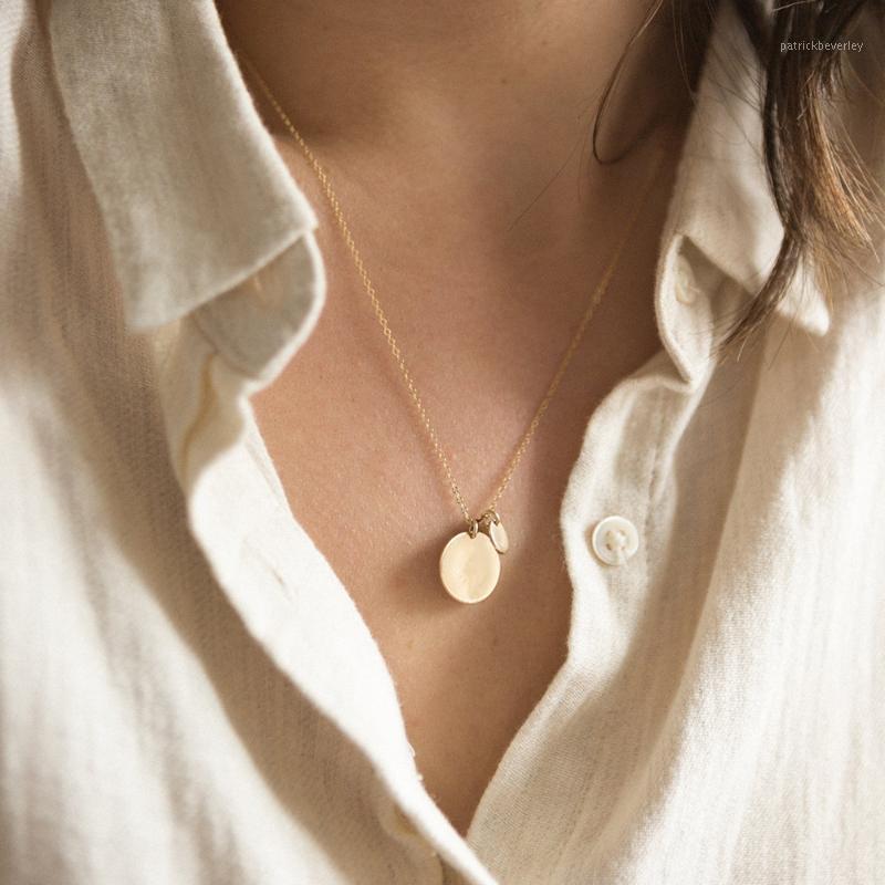 Ketten einfache frauen anhänger halskette mode lässig doppelscheibe choker silber gold farbe elegante weibliche geschenk1