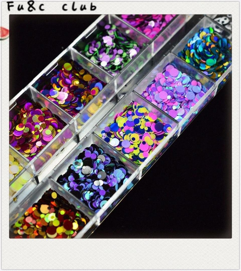 Neuf, 12 Niveau couleur assorti ongles ronde décoration bricolage compétences, ongles, clignotant en poudre, ongles décoration 2018 Hot vente hxkn #