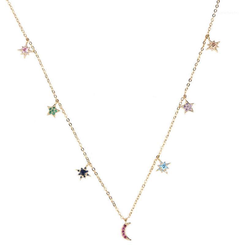Ouro cor estrela lua mulheres pingente colar moda feminina gargantilha colares jóias simples senhoras pentagon-star jóias presentes1