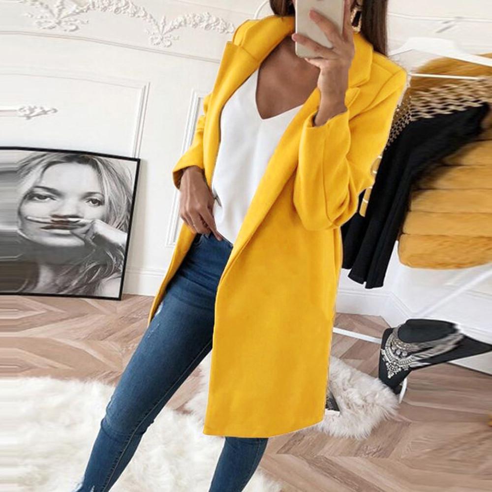 Mujeres con color sólido Vintage Long Women 2021 Elegante Botón de cuello en V Botón Pocket Boolen Coat