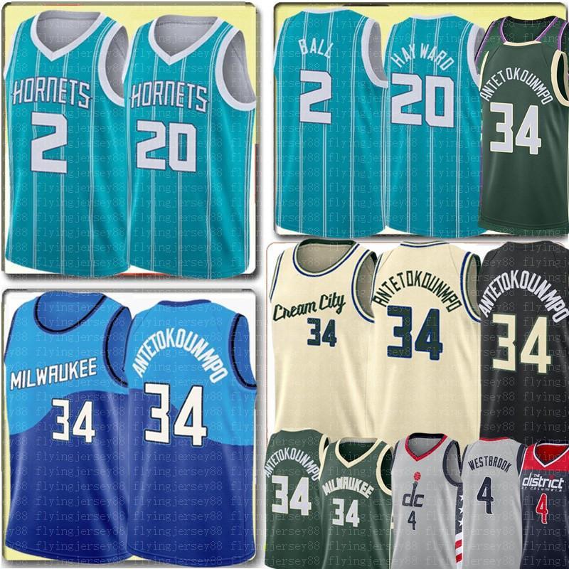 New Lamelo 2 Ball Jersey Gordon 20 Hayward Giannis 34 Antetokounmpo Jersey 2021 Russell 4 Westbrook Basketball Jerseys Mens