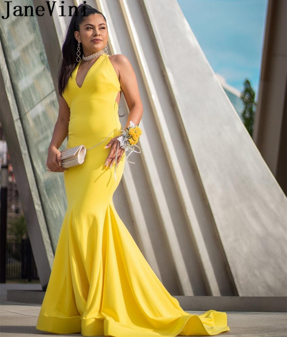 JaneVini Croix sexy Retour longue soirée Robes de bal Robes de sirène jaune balayage train manches Formal Special Occasion Dress