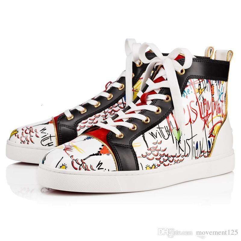 Designer di lusso Top Graffiti fondo in cuoio delle scarpe da tennis Lace strass rosso fino orlato appartamenti di modo esterne di alta qualità da uomo Scarpe da ginnastica