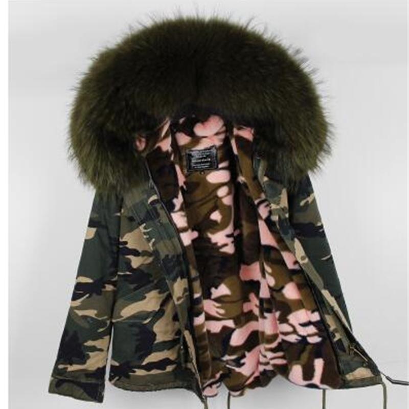 Kadınlar Kış Kamuflajlı Parkas Büyük Rakun Kürk Yaka Kapşonlu Coat 2 1 Ayrılabilir Astar Kış Ceket Marka Stil 201.110 eskitmek