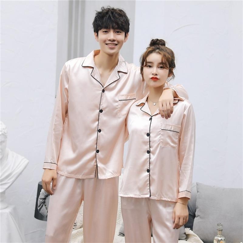 Brand New China Satin Silk pijamas Conjuntos de mangas compridas Long Calça Casal Sleepwear Família Homewear Mulheres Homens Lover Home Roupas Y200425