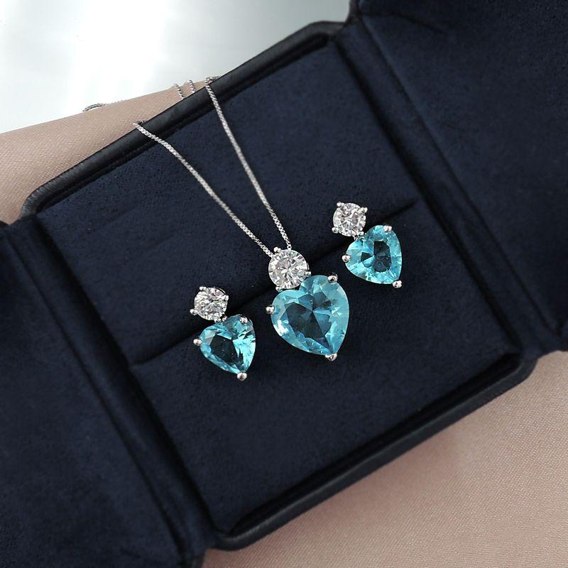 Aiyanishi Bohemia Lover Heart 925 Стерлингового серебра 925 Paraiba Tourmaline Emerald Gemstone Ожерелье Серьги Ювелирные Изделия Набор