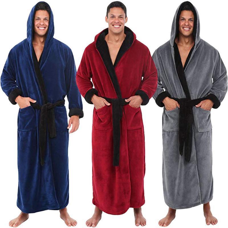 Moda casual ropa de dormir para hombres albornoces franela túnica con capucha manga larga pareja hombres mujer peluche chal kimono cálido masculino bathrobe abrigo