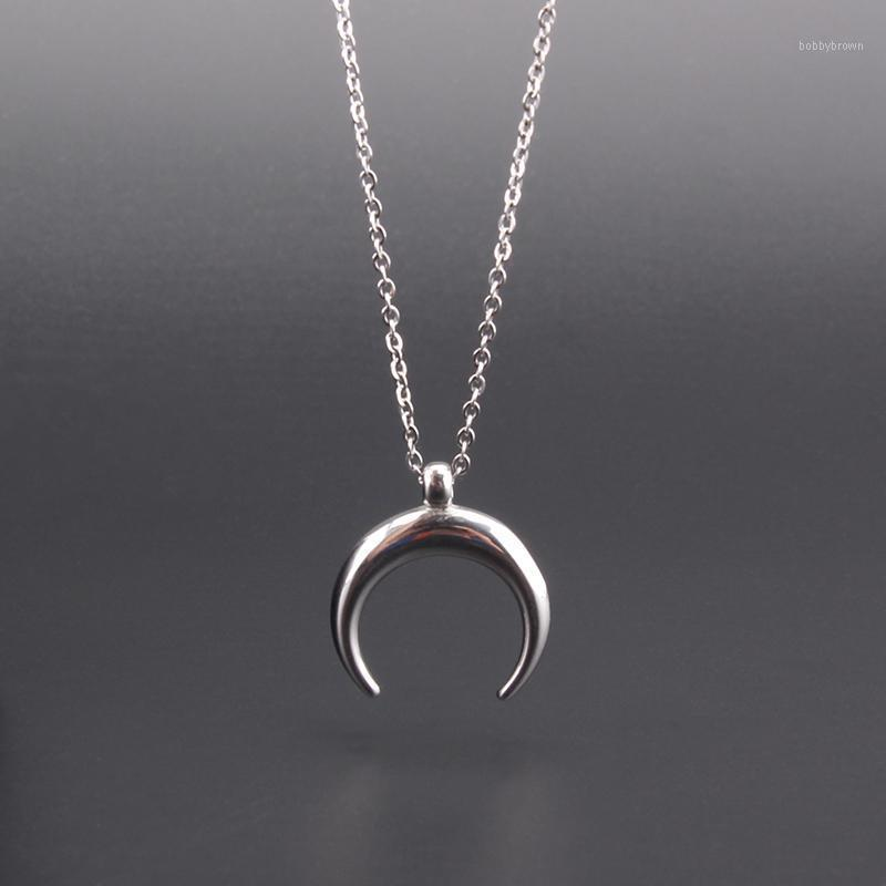 Ox Horn Necklace Stainless Steel Half Moon Charm Pendant Women Fashion Jewelry Gift Female Mujer Colar 2021 New1