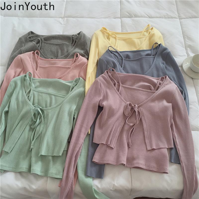 Join Youth Womens Cardigan Две части наборы вязаный свитер Корейский шнурок кружевные кардиганы тонкие тонкие урожаи Tops Pullover 201127