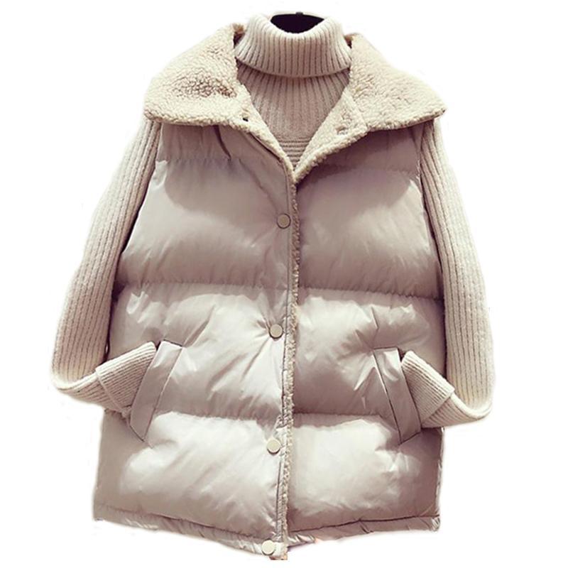Kuzu Kürk Aşağı Pamuk Yelek Coat Kadın Kış Yeni Gevşek Harajuku Kolsuz eskitmek Artı boyutu Yelek Ceket 201103