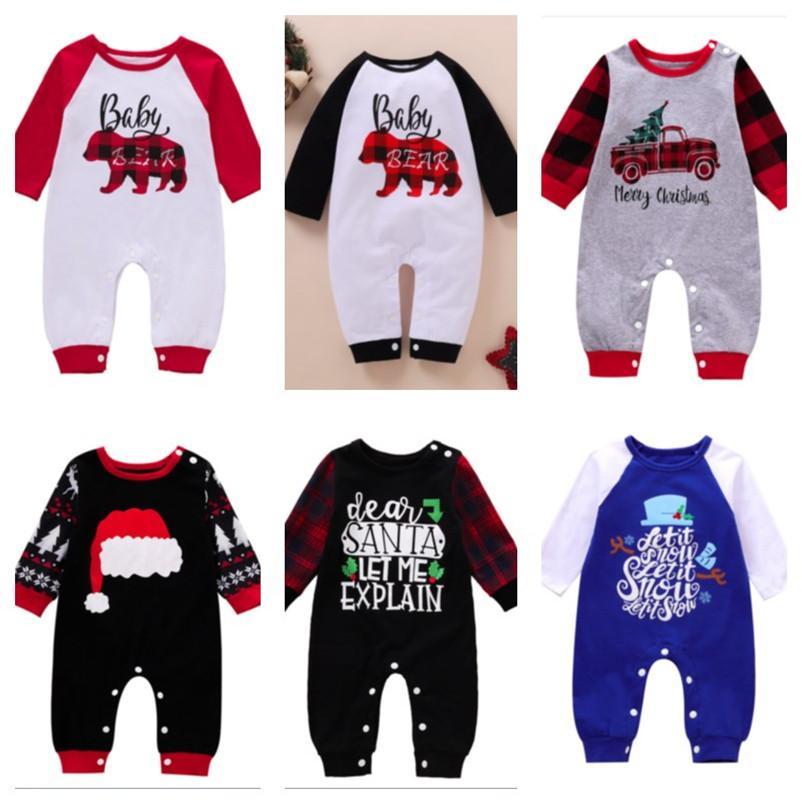 0-12 Meses Baby Christmas Romper Baby Bear Bear Plaid Jumpsuit Infants Pantalones de una pieza Newborn Cartoon Bear Pajamas PlaySuit Outfit New E102202
