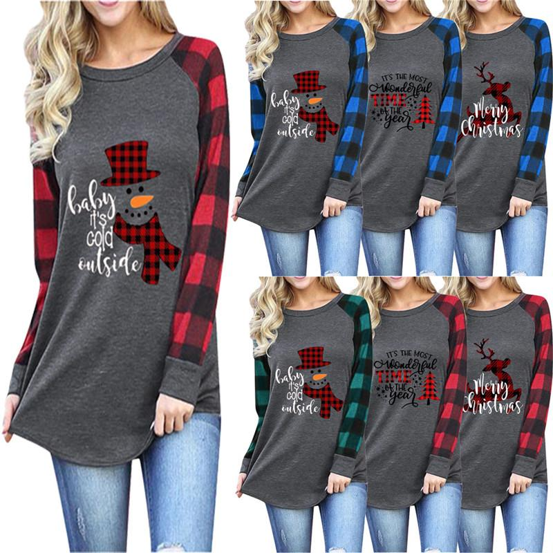 2020 женщины Рождества Tshirt Новой мода Осень Зима Повседневная длинный рукав Xmas Theme Снежинка снеговик Xmas Tree Tops Printed Tee Блуза
