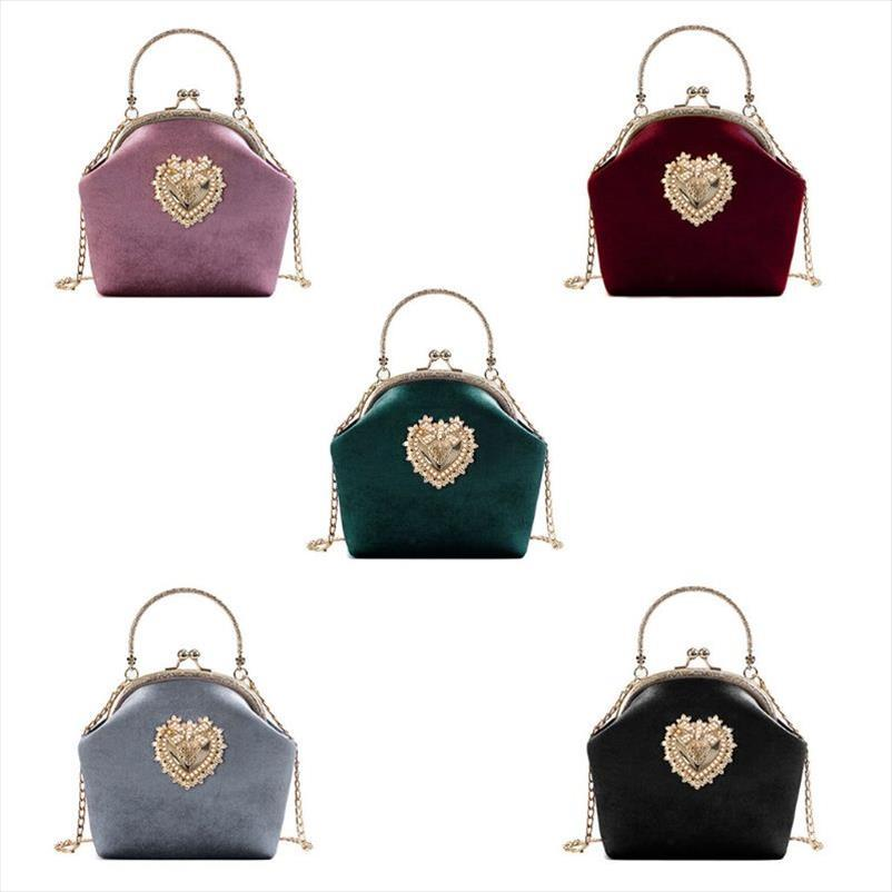 Высокое качество Женщины бархатной сумки Урожай сердце дизайн мешок вечера Свадьба невесты сцепления мешки плеча Кошелек