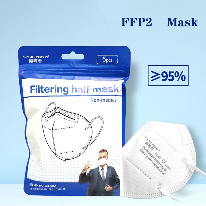 FFP2 Маска 5 шт. / Лот Сертификат CE Сертификат Маска для лица 6 слой Анти-грипп пыленепроницаемый Mascarilla ЕС Белоснежные Многоразовые маски