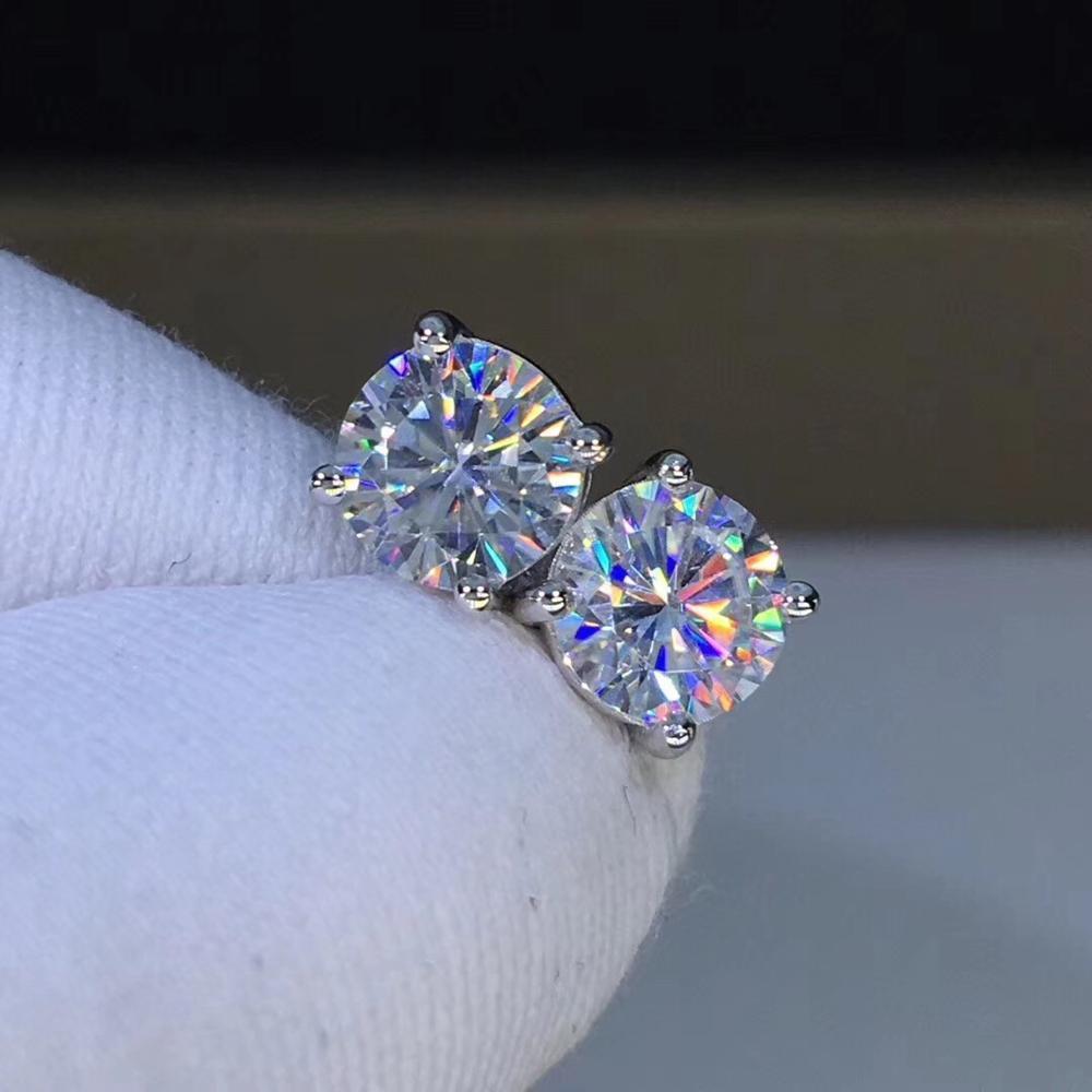 Poesie des Judengeschäfts Runde Moissanite Cut Gesamt 1,00CT Diamond-Test bestandenes Moissanit Silber Ohrring Schmuck Freundin Geschenk Y1220
