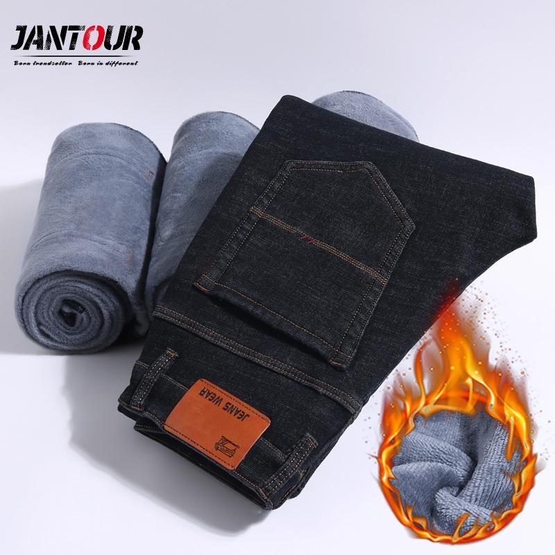 Jeans-Mann-Winter neuer Fleece-Hosen der Männer 2020 Business Casual Goth Hosen Herrenmode Gerade verdicken Arbeitshose Größe 28-40