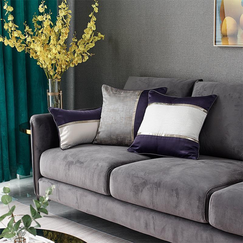 Luz de lujo color bloque remiendo jacquard sofá cojín cubierta púrpura gris geométrico bordado almohada cubierta casero coche almohada funda de almohada