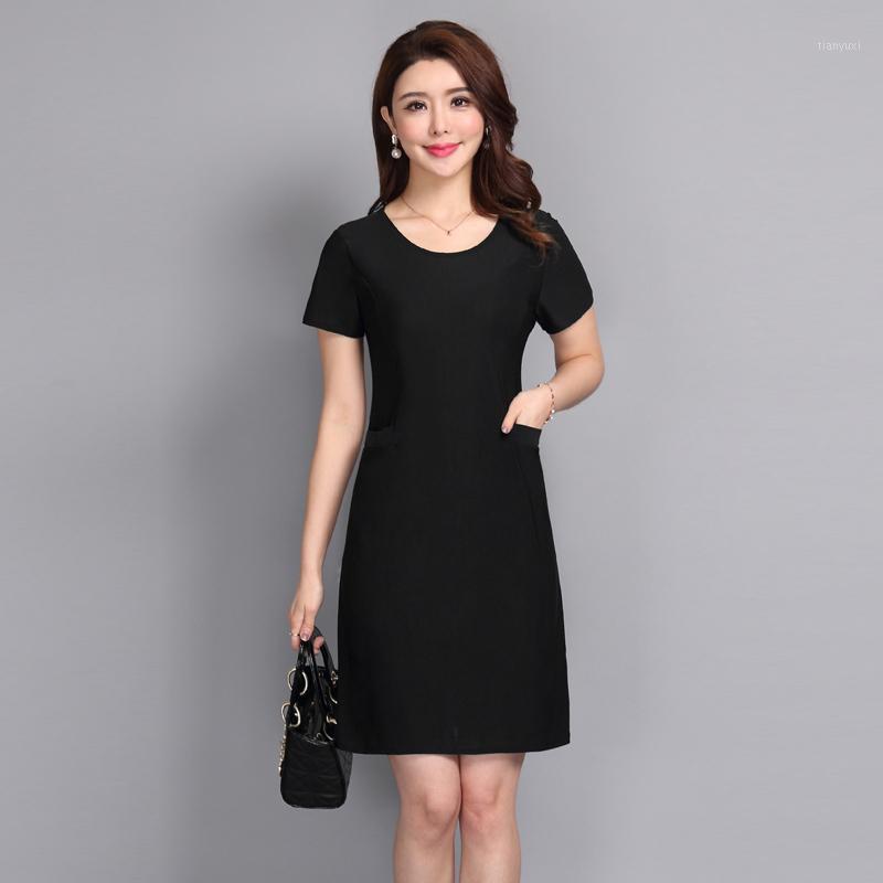 2020 Mujeres Vintage A-Line Vestidos de verano elegante manga corta o cuello de impresión Sundress Nuevo Moda Vestido de mujer1