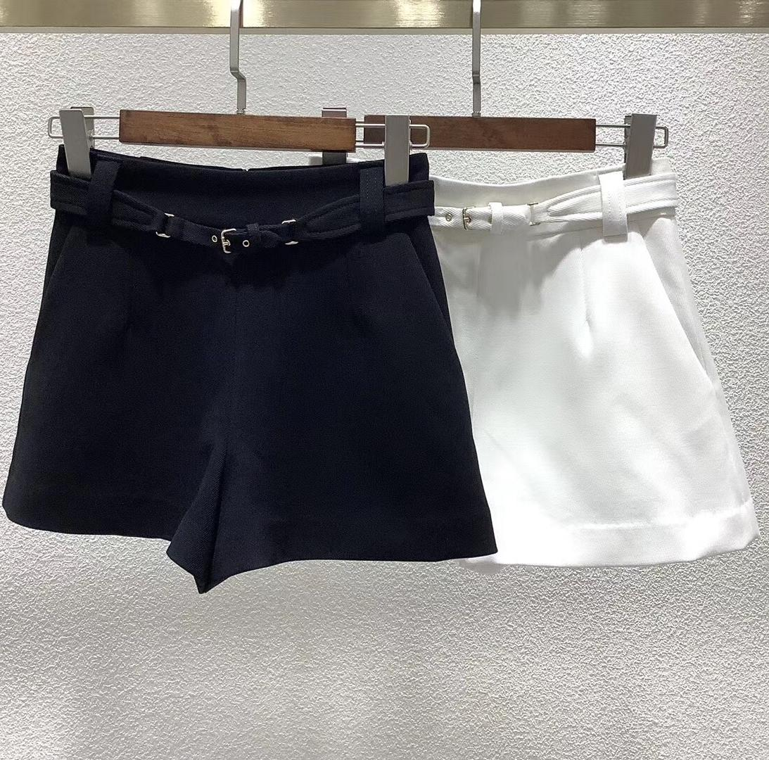 2020 Early Autumn Waistband Solid Color women's Casual Shorts with belt Q0131